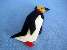 LEA STEIN King Penguin Brooch - Yellow face and Red Flippers! (Sold)